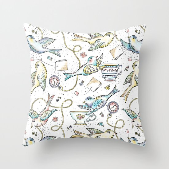 Twittering Tea Party Throw Pillow