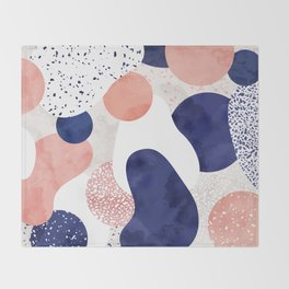 Terrazzo galaxy pink blue white Throw Blanket