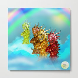 Rainbow Wood Beasts [Pen Drawing] Metal Print