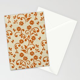 """Orange Flowers & Natural Texture"" Stationery Cards"
