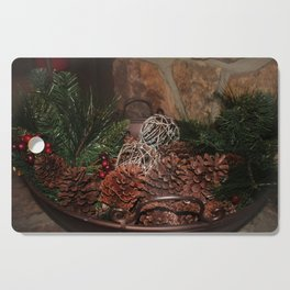 Holly And Pine Cones Cutting Board