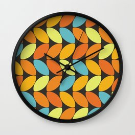 Retro 70s Color Palette Leaf Pattern II Wall Clock