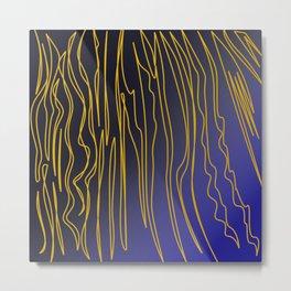Zebra wild Safari collection GOLD BLUE Metal Print