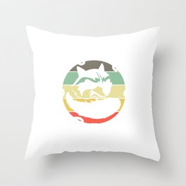 """Retro Tee For Animal Lovers With A Cute Illustration Of A Raccoon """"Support Your Local Street Cats"""" Throw Pillow"""