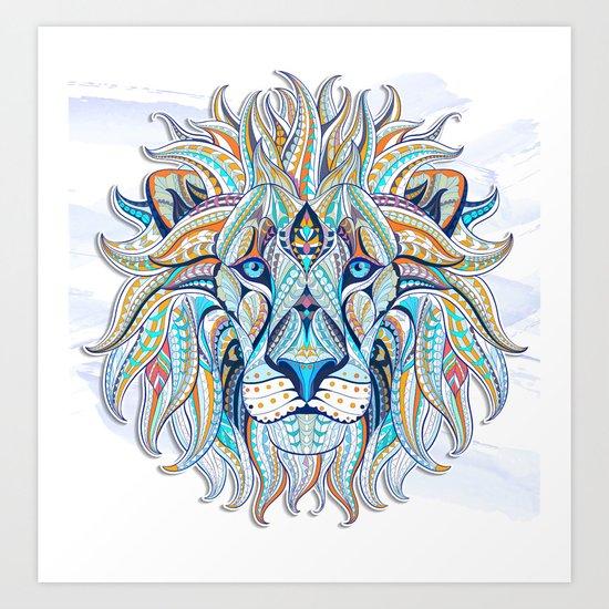 Blue Ethnic Lion Art Print