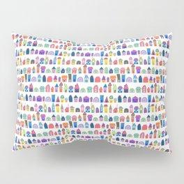 Colorful Neighbors Illustration (White) Pillow Sham