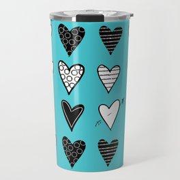 Baby Blue Heart Doodles Travel Mug