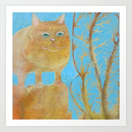 Fat 3 Legged Cat Art Print