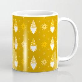 Minimalist Golden Santa's Gnomes / Elves with Stars, Scandinavian Christmas Pattern Coffee Mug