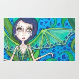 Blue Hair mermaid Rug