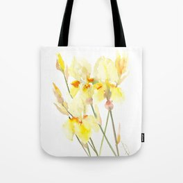 Yellow Irises, Soft yellow Floral Art Tote Bag
