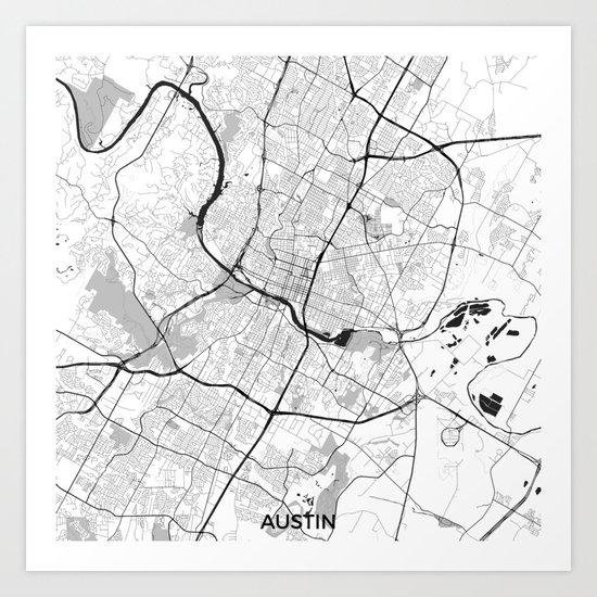 Austin Map Gray Art Print