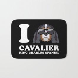 I Love Cavalier King Charles Spaniel modern v2 Bath Mat