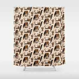 Electric Oasis - Black, Brown & Tan Shower Curtain