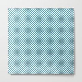 Aquamarine and White Polka Dots Metal Print
