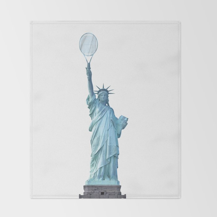 Statue of Liberty with Tennis Racquet Throw Blanket