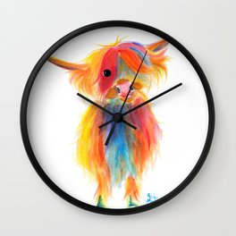 Scottish Highland Cow ' ANGEL ' by Shirley MacArthur Wall Clock