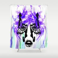 her art Shower Curtains featuring Her by Aaron Galaxy