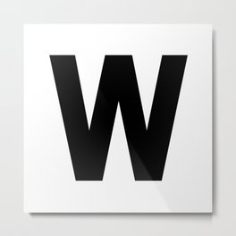 Letter W (Black & White) Metal Print
