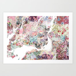 Montreal map - Landscape orientation Art Print