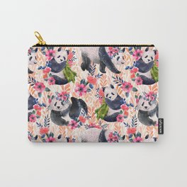 Watercolor pattern with pandas and flowers. Carry-All Pouch