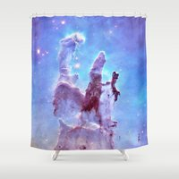 nebula Shower Curtains featuring nEBulA Pastel Blue & Lavender by 2sweet4words Designs