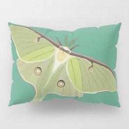 Luna Moth Drawing on Turquoise Background Pillow Sham