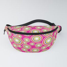 Circles on pink background Fanny Pack