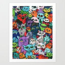 Crazy Cats Color  Art Print