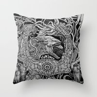 prometheus Throw Pillows featuring Prometheus by Walid Aziz
