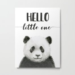 Panda Art Print Baby Animals Hello Little One Nursery Decor Metal Print
