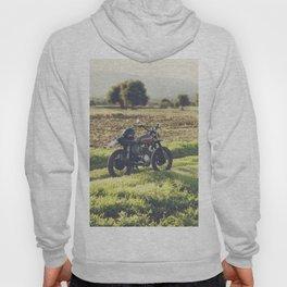 Moto guzzi, café racer, photo in south italy, man cave. Scrambler, fine art, motorcycle, motorbike Hoody
