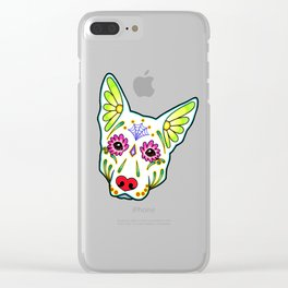 German Shepherd in White - Day of the Dead Sugar Skull Dog Clear iPhone Case