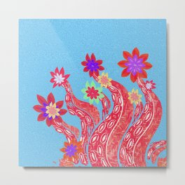 Octopus Garden No. 4 Surreal Simple Boho Floral Stamp Print Metal Print