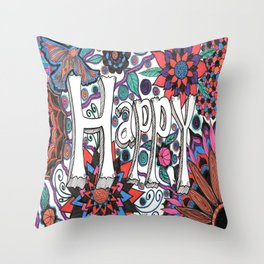 Happy! Throw Pillow