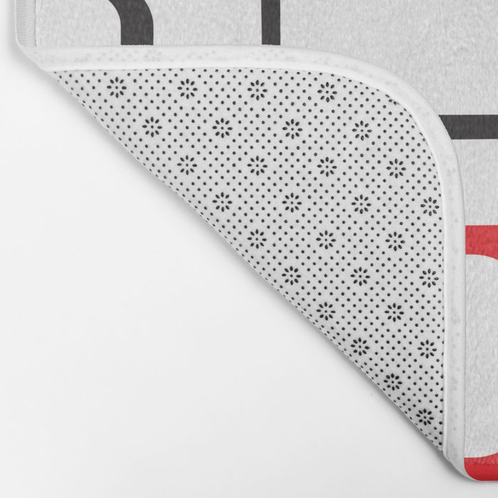 Red Black Gray Retro Square Pattern White Bath Mat