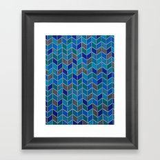 Blue and grey hue chevron Framed Art Print