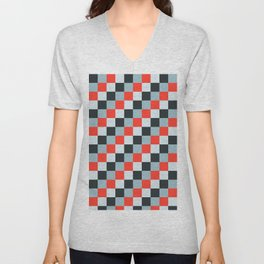 Stainless steel knife - Pixel patten in light gray , light blue and red Unisex V-Neck