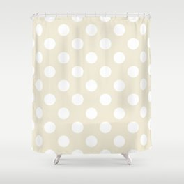 Eggshell - pink - White Polka Dots - Pois Pattern Shower Curtain