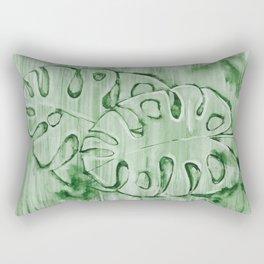 Monstera Leaves Green 2 Rectangular Pillow