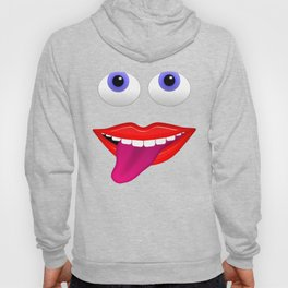 Smiling Mouth With Tongue Out and Blue Eyes Hoody