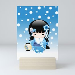 Japanese Winter Kokeshi Doll Mini Art Print