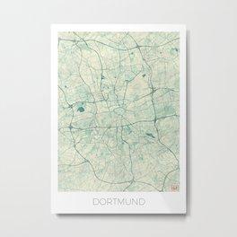 Dortmund Map Blue Vintage Metal Print