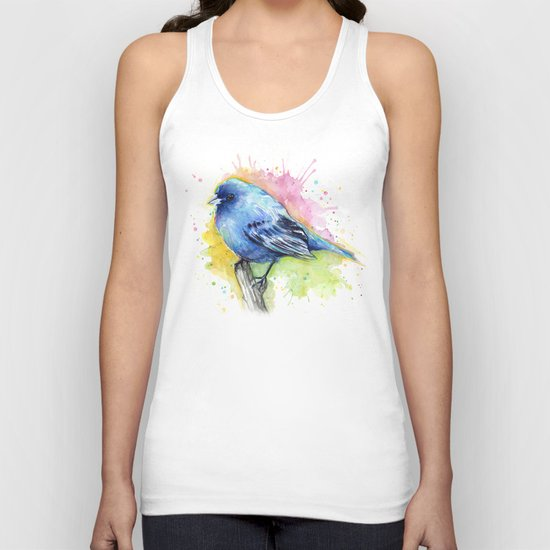 Blue Bird Indigo Bunting Colorful Animals Unisex Tank Top