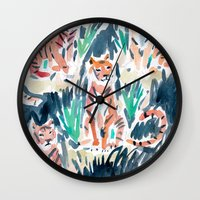 tigers Wall Clocks featuring Sitting Tigers by Barbarian // Barbra Ignatiev