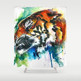 Orange Mad Tiger Watercolor Shower Curtain