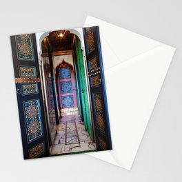 Moroccan painted doors and marble hallway in Marrakech, Morocco Stationery Cards