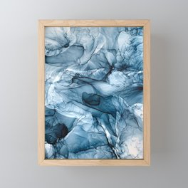 Churning Blue Ocean Waves Abstract Painting Framed Mini Art Print