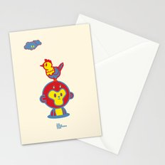The Monkey and The Rooster  Stationery Cards
