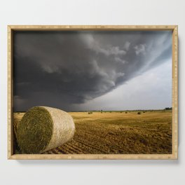 Spinning Gold - Storm Over Hay Bales in Kansas Field Serving Tray